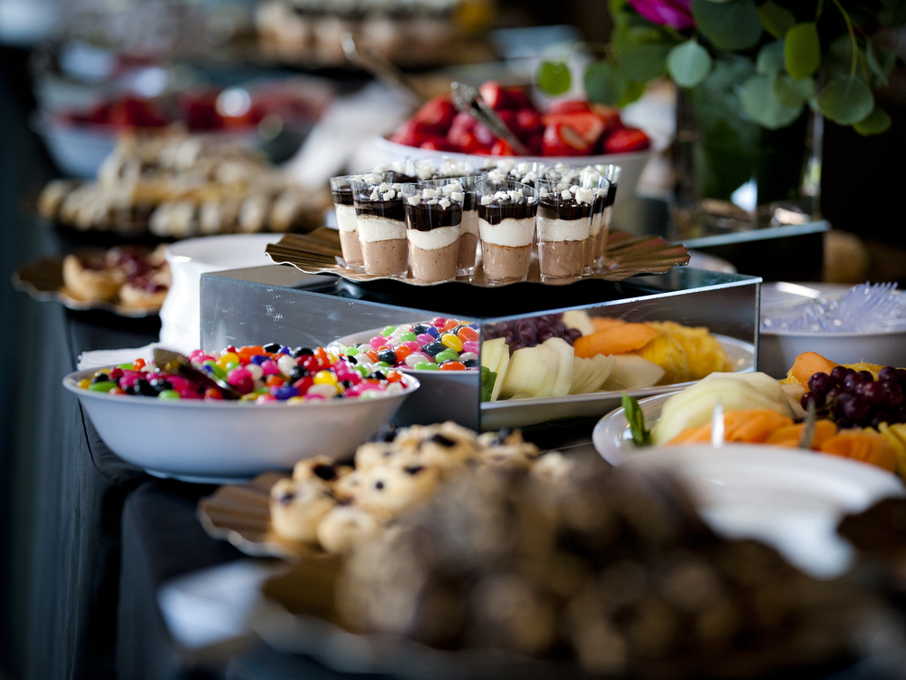 Dessert Table with Mousse and Fruit