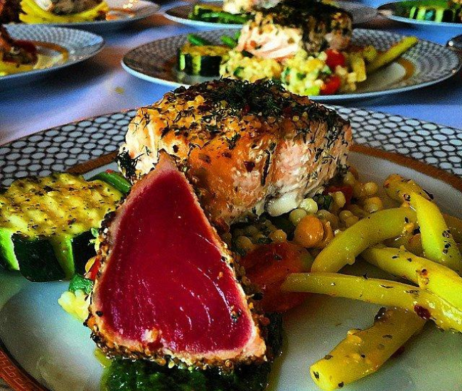 Seared tuna and salmon