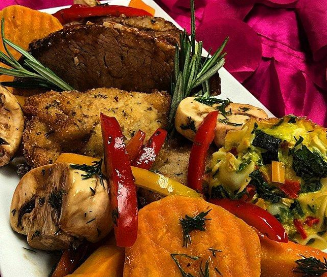 Roasted vegetables and meat