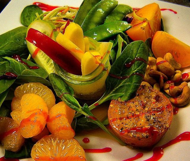 Nut, fruit, and vegetable salad