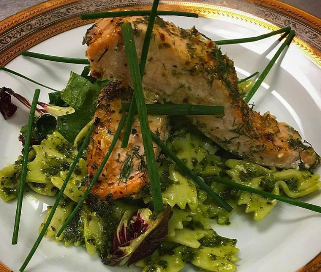 Salmon and pesto salad