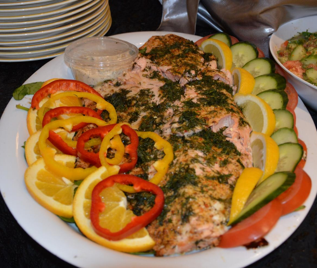 Salmon and veggies platter