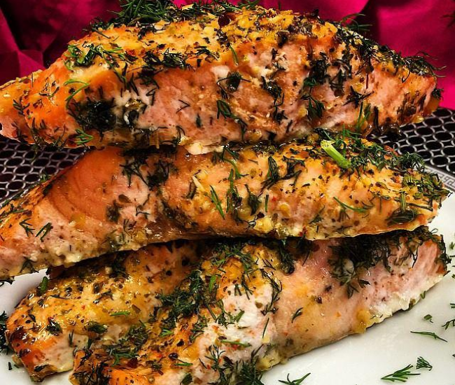 Seasoned salmon fillets
