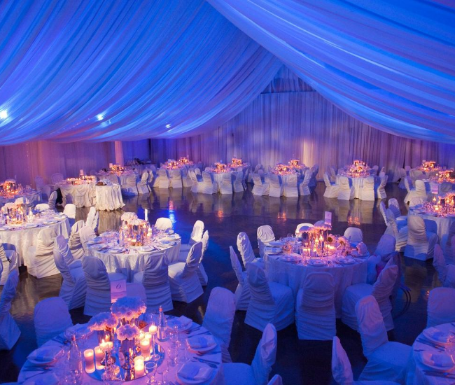blue wedding hall