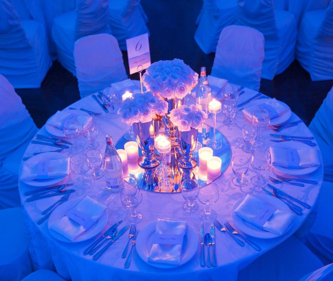 fancy blue wedding table