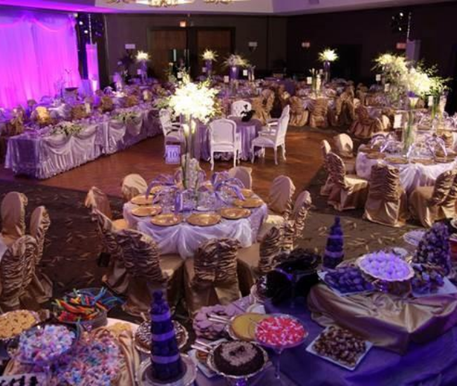 large overhead view of a wedding hall