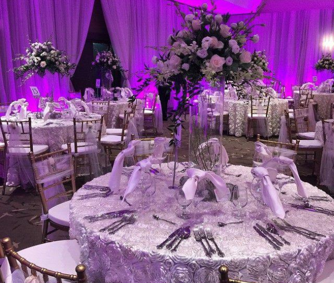 purple wedding room